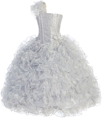 Amazon.com: Big Girls Princess Pageant Girl Ball Gown Flowers Girls Dresses Silver 12: Clothing