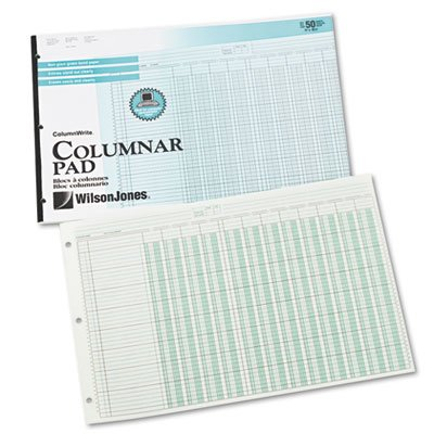 Side-Punched Columnar Pad, 12 8-Unit Columns, Perforated Heading, 11 x 16-3/8, Sold as 2 Pad