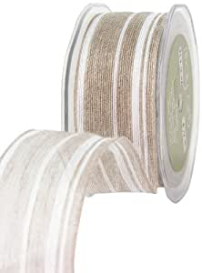 May Arts 1-1/2-Inch Wide Ribbon, Natural and White Stripe