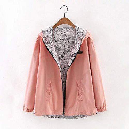 Wear Coat Loose Jackets Windbreaker Hooded Print Spring Side XCXKA Pink Outwear Zipper Women Female Cartoon Autumn Two FwqntwZA