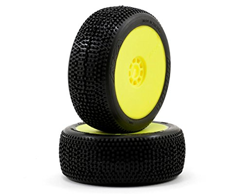 AKA Products 14007SRY Racing Buggy Impact Soft Evo Wheel Pre-Mounted Yellow Tire, Scale 1:8 Soft Pre Mounted Tire