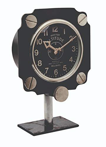 - Asher Amada Altimeter Mantel or Shelf Clock on Black Iron Base