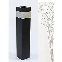 "Green Floral Crafts 28"" Slender Rectangle Tall Floor Vase - Black & Silver Accent"