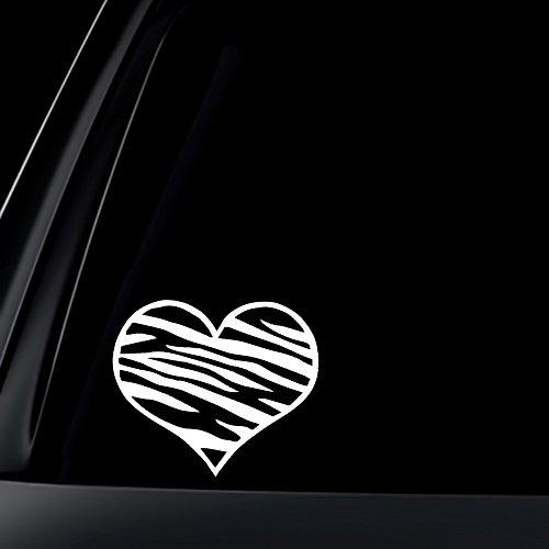 (Zebra Print Heart Car Decal / Sticker, 5