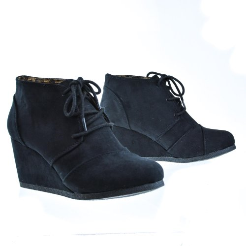 Ville Classée Rex Cheville Bootie Lacets Wedge Boot Blackimsu