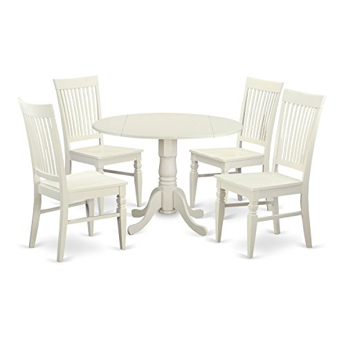 East West Furniture DLWE5-WHI-W 5 Piece Kitchen Dinette Table and 4 Dining Chairs Set for 4 People