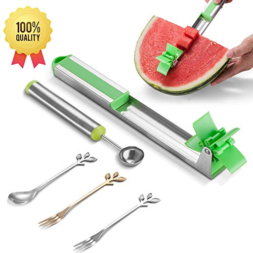 EMOLI Watermelon Cutter Creative Stainless Steel Watermelon Windmill Cutter Slicer丨Fruit Knife Tools with 1 Baller Scoop & 3PCS Dessert Forks丨FDA Approved & BPA Free