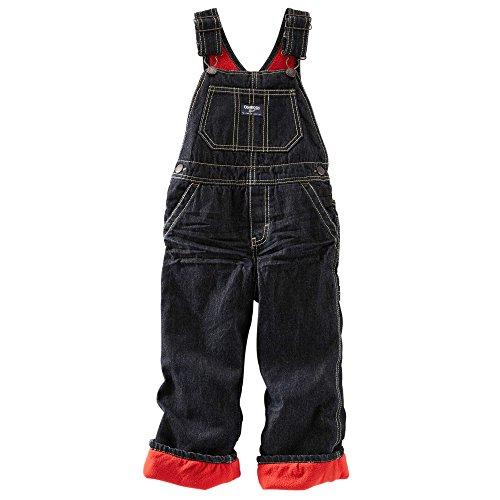 Oshkosh B'Gosh Boy's Black Denim Fleece Lined Overalls (9 Months)