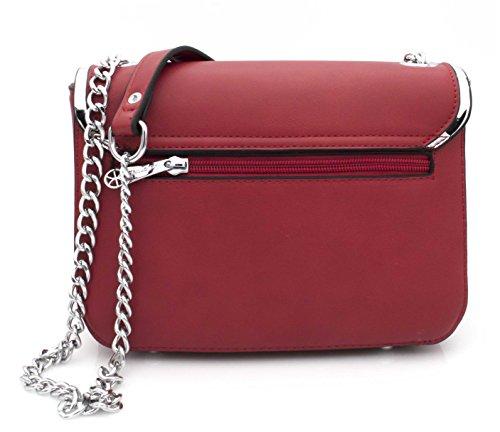 Chic Petit chaînes à cuir bordures Bag et Rouge Rabat tendance Hello bandoulière la en mode Argentées Sac à imitation Rouge sac chaîne femme SxwxPzZUq