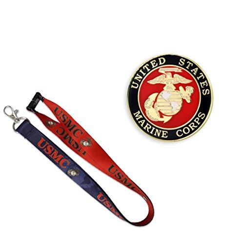 (PinMart Gold USMC Marine Corps Lapel Pin & Matching Lanyard Military 2 Pc Bundle)