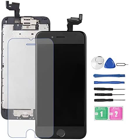 for iPhone 6S Screen Replacement Black Bsz4uov LCD Touch Digitizer Complete Display for A1633 A1688 A1700with Home Button Proximity Sensor Ear Speaker Front Camera Screen Protector and Repair Tool