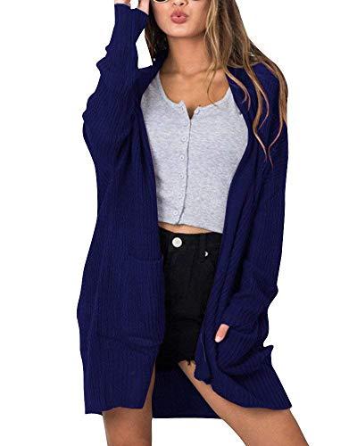 Mode A Plus Dunkelblau Autunno Vintage Manica Maglia A Lunga Color Cardigan Tasche Eleganti Cappotto Prodotto marca di Festiva Puro Donna Size Con Lunga Casual Moda Maglia M Colore Giacca FX5q1xw
