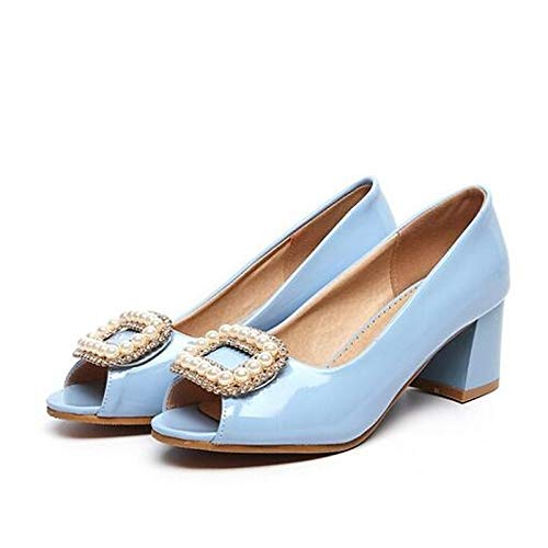 Women's Spring PU Heel Comfort White Pink White Blue ZHZNVX Heels Chunky Polyurethane gapUpxn
