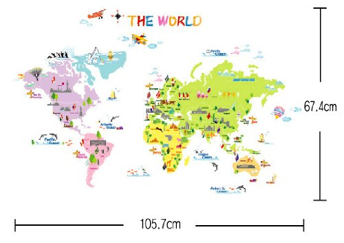 Decowall,DP 08200,Colourful World Map,Home Art Decoration Wall Stickers/wall  Decals/wall Transfers/wall Tattoos/wall Sticker: Amazon.co.uk: Kitchen U0026  Home Part 89