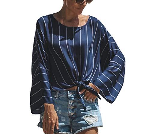 Blanc Chemise color Style Rond Blouse lache M Femmes Tops Manches dcontract Bleu col Rayures Longues Longues Taille Manches Nouveau de FuweiEncore gxdqFATwnq