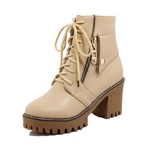 VogueZone009 Damen Hoher Absatz Rein Rund Zehe Schnüren Stiefel mit Metallisch Aprikosen Farbe