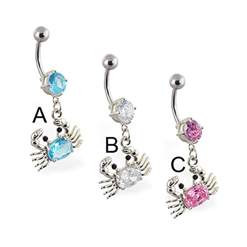 (MsPiercing Navel Ring With Dangling Jeweled Crab, Pink -)