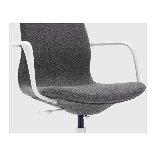Ikea swivel chair gunnared dark gray white for Ikea white swivel chair