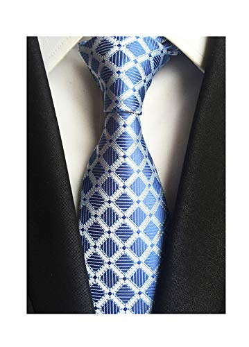 Check Necktie - Men's Classic Checks Light Blue Silver Jacquard Woven Silk Tie Necktie + Gift Box