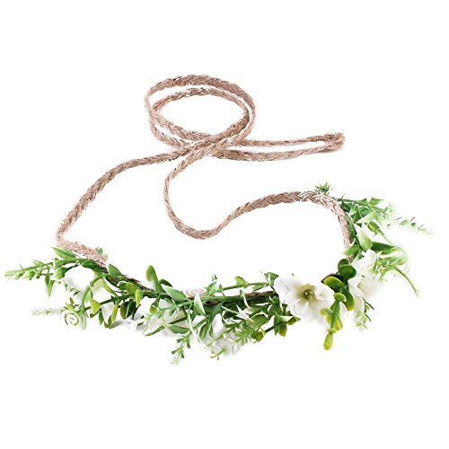 Tieback Flower Crown Flower Headband Baby Girl Toddler Woodland Green Leaf Floral Crown Wreath (White) (Woodland Tie)