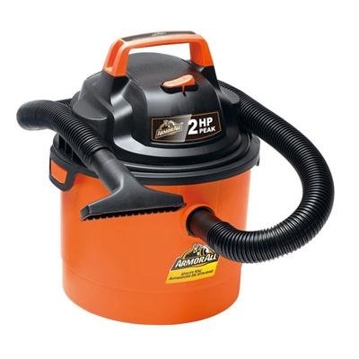 Armor All 2.5 Gallon 2 HP 1-1/4″ Hose, Portable Wall Mountable Wet/Dry Utility Vac (VOM205P0901), Orange