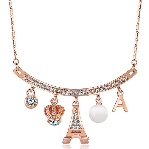 XZP Cubic Zirconia Curved Bar Necklace with Pave Crown&Eiffel Tower&Ball&Initial A Rose Gold Plated Necklaces for Women