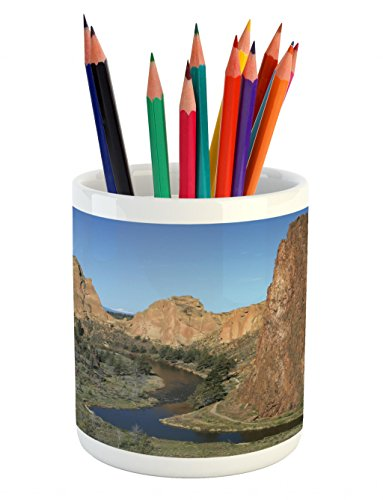 Cheap  Lunarable Oregon Pencil Pen Holder, Crooked River beneath the Cliffs of Smith..