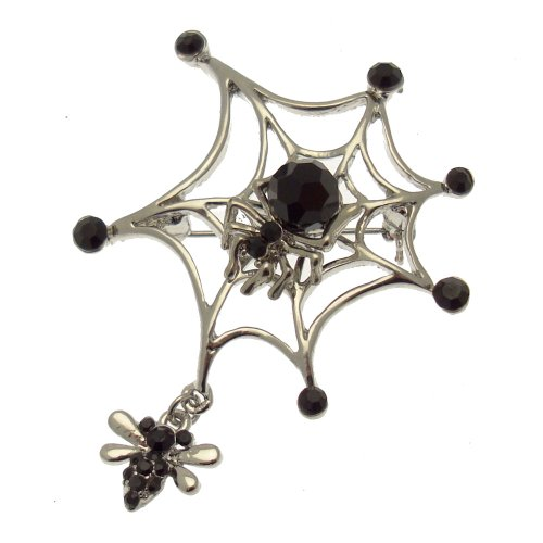 Gothic Spider Web - Acosta Brooches - Jet Black Crystal & Bead - Silver Tone Gothic Spider Web Brooch with Fly Charm - Gift Boxed