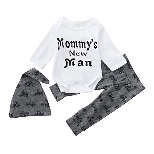 FEITONG Newborn Infant Baby Boys Letter Romper Tops Pants Hat Clothes 3PCS Outfits Set(12-18M,White) -