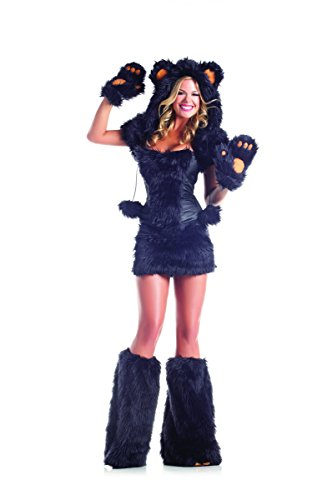 [Adult Women's 8 Piece Sexy Black Bear Halloween Party Costume With Hood & Leg Warmers] (Yogi Bear Halloween Costume)
