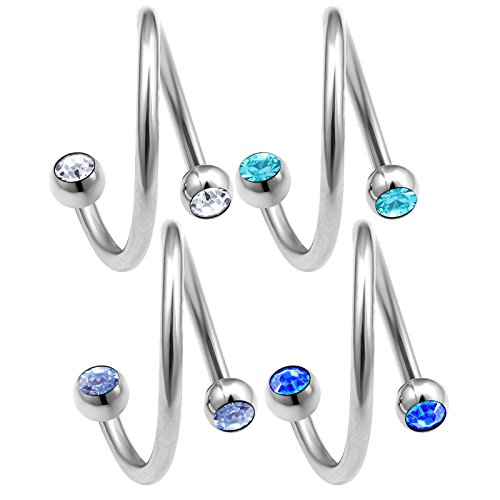 4pcs 16g 12mm Spiral Piercing Ear lobe Rim Hoop Helix Lip Cartilage Navel Belly Tragus Eyebrow Crystal BQAW - CR LSP SP AQ