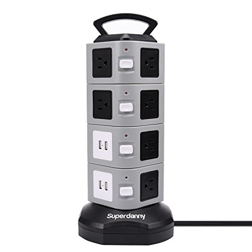 Surge Protector Power Strip Tower - SUPERDANNY 3000W 13A with 4.2A 4 USB Slot 14 Outlets 16AWG 6.5ft Heavy Duty...