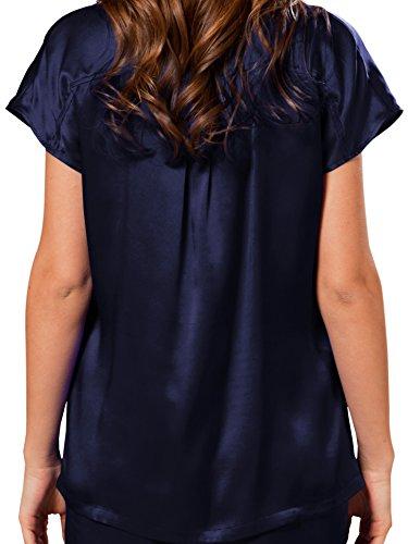 100 2 Pijamas Invierno Ellesilk Piezas De Azul Mujer Seda Verano Larga Conjunto Marino Momme Manga 22 Hipoalergénico d8vqCvUW