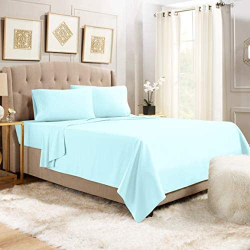 "Empyrean Bedding 14"" - 16"" Deep Pocket Fitted Sheet 4 Piece Set - Hotel Luxury Double Brushed Microfiber Top Sheet - Wrinkle Free Fitted Bed Sheet, Flat Sheet and 2 Pillow Cases - Queen, Light Blue"
