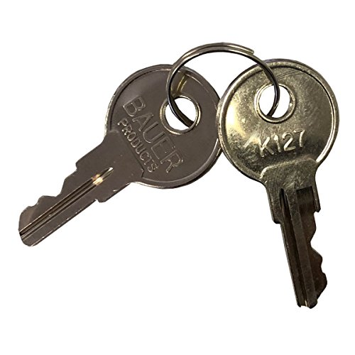 Bauer K127 Replacement Keys for Bauer T-Handles, Camper Toppers, Camper Shells and Truck Caps - Set of Two Bauer Keys