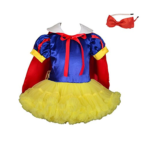 Halloween Costumes White (Lito Angels Baby-Girls' Princess Snow White Costume Halloween Fancy Dresses Fluffy Tutu W/Cape + Headband Size 6-9)