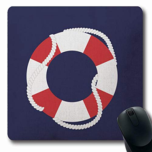 (Ahawoso Mousepads White and Red Nautical Life Buoy Oblong Shape 7.9 x 9.5 Inches Oblong Gaming Mouse Pad Non-Slip Rubber Mat)