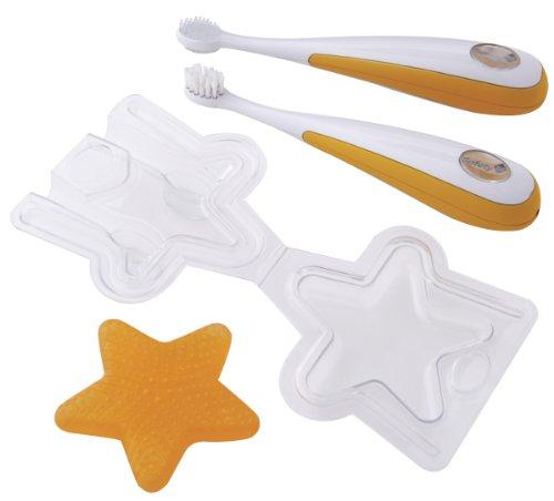 Safety 1st 32110029 4-teiliges Zahnpflegeset für Kinder, rutschfeste Griffe, ab 4 Monate
