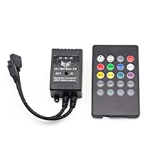 Minger Music Controller,20 Keys IR Sound Sensor Music Remote Controller for 5050 3528 5630 Flexible RGB LED Strip Light, Tape Lights