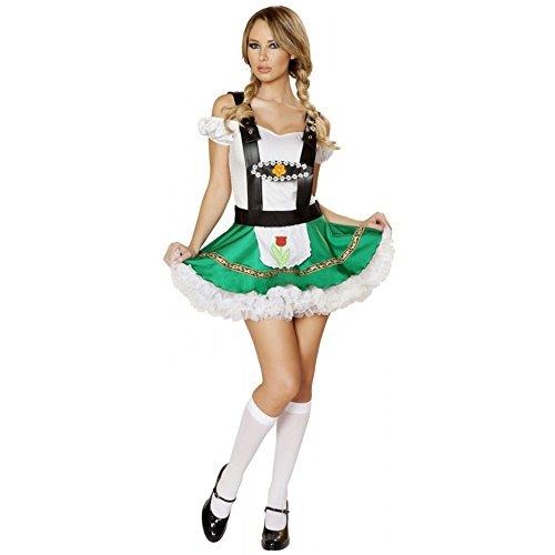 Ocktoberfest 4pc Women's Beer Bar Maid Green Lederhosen Costume -