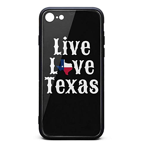 (Phone Case for iPhone 6Plus/iPhone 6sPlus Popular Live Love Texas Cute Texas Flag White Tempered Glass Black Anti-Scratch TPU Rubber Bumper Shock Cover for Man's Back Cover)