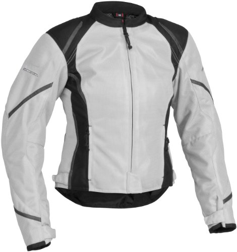 Firstgear Mesh-Tex Women's Motorcycle Riding Jacket (Silver, Large)