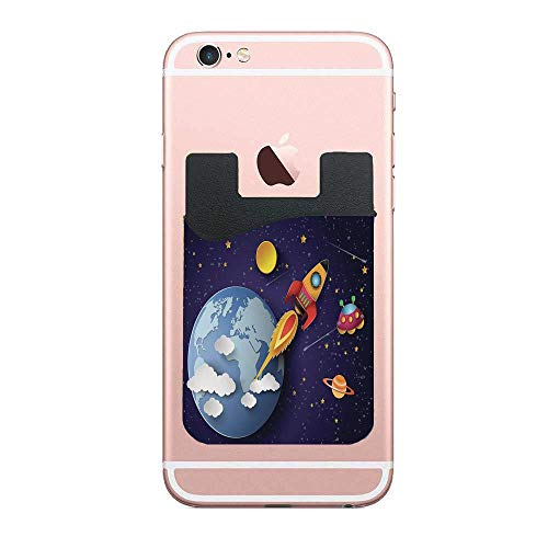 Outer Space,Rocket on Planetary System with Earth Stars UFO Saturn Sun Galaxy Boys Print Custom 2 Pack Cell Phone Stick On Wallet Card Holder Phone Pocket for iPhone, Android and All Smartphones