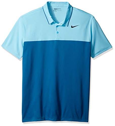NIKE Men's Icon Heather Polo, Vivid Sky/Industrial Blue/Black, X-Large