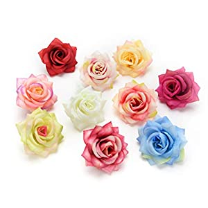 Fake flower heads in bulk wholesale for Crafts Artificial DIY Silk Peony Heads Decorative Simulation Flower Head for Home Wedding Birthday Party Decoration Fake Flowers 30PCS 6cm (Colorful) 30
