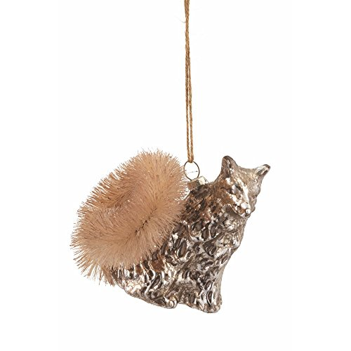 Fox Glass Ornament Antique Platinum Finish 3.75
