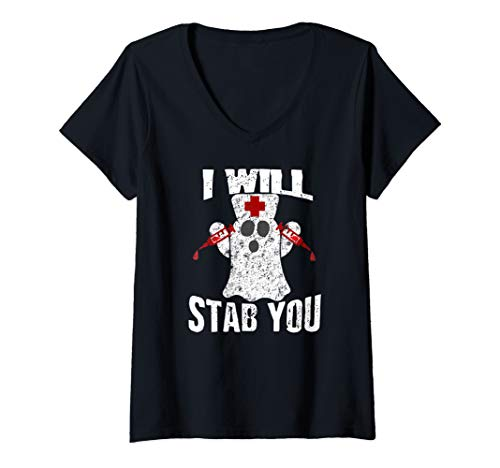 Womens I Will Stab You Ghost Nurse Costume