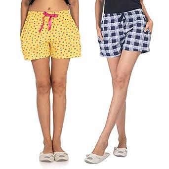 NITE FLITE Women Cotton Shorts   Pack of 2