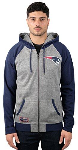NFL Men's New England Patriots Full Zip Fleece Hoodie Sweatshirt Jacket Contrast Raglan, Medium, Gray