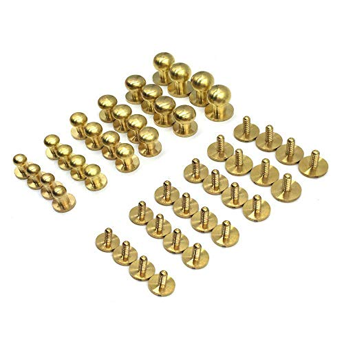 Mmei 24 Sets Sam Browne Solid Brass Button Studs Rivets Screwback Screw Back Spots for DIY Leather Craft Belt Purse Handbag and More (4 Sets per size)